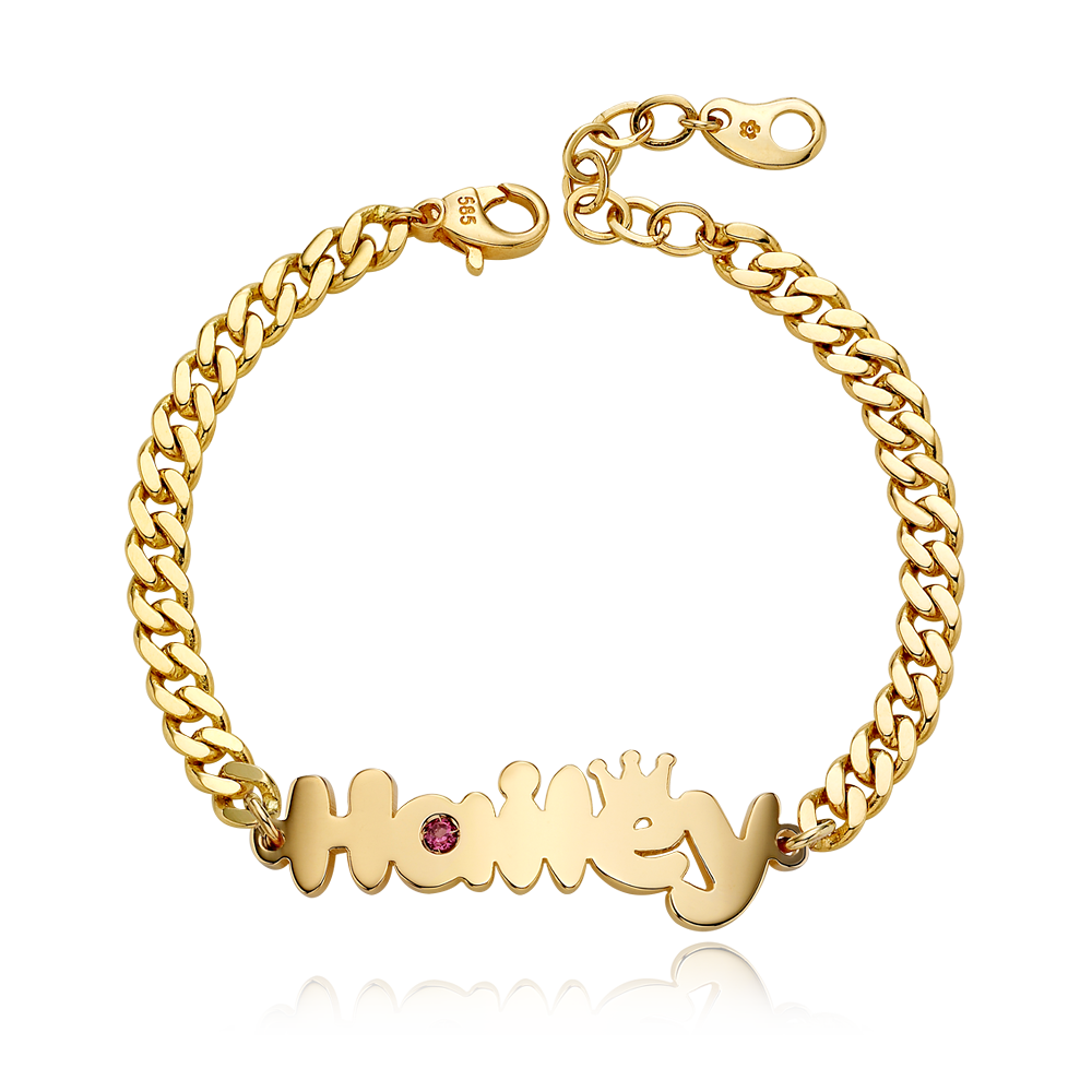 14K / 18K Gold B01 Crown Birthstone Name Bracelet - 4.0mmCurb Chain