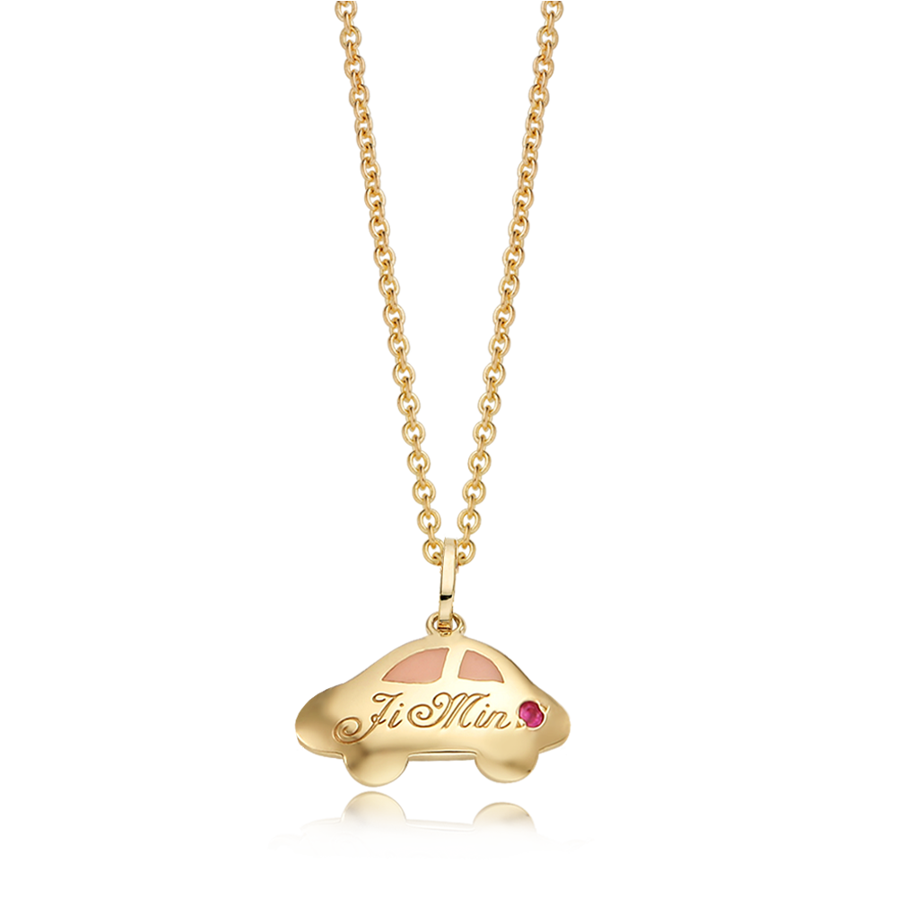 14K/18K Gold Car Pink Necklace
