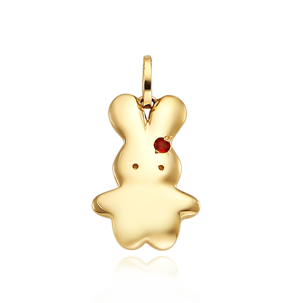 14k/18k Gold Baby Rabbit Birthstone Pendant