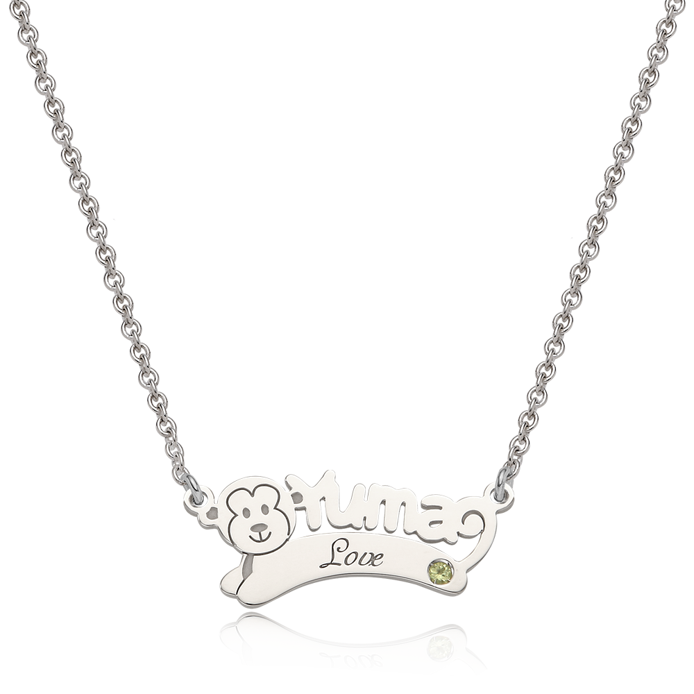 Oriental Zodiac Monkey Sterling Silver Name Necklace