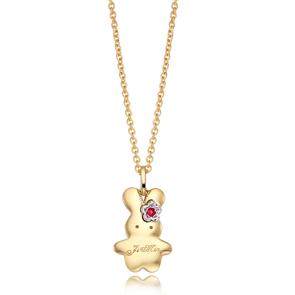 14K / 18K Gold Baby Rabbit Flower Birthstone Necklace