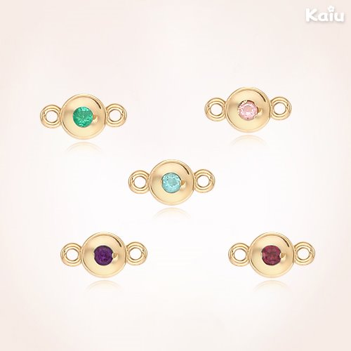 14K / 18K Gold Small Point Birthstone Round Add