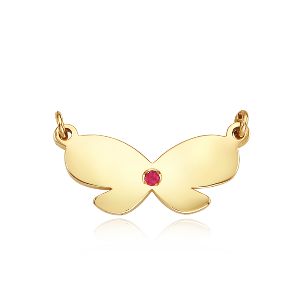 14k/18k Gold Birthstone Ribbon Pendant