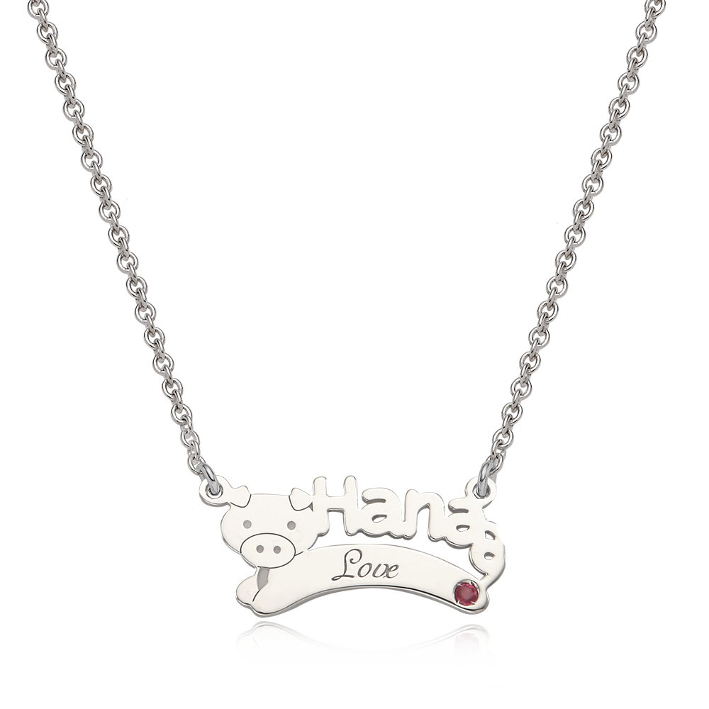 Oriental Zodiac Pig Sterling Silver Name Necklace