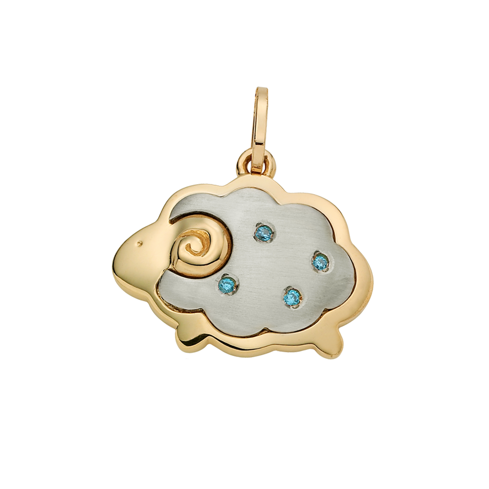 14k/18k Gold Oriental Zodiac Sheep(Blue) Pendant