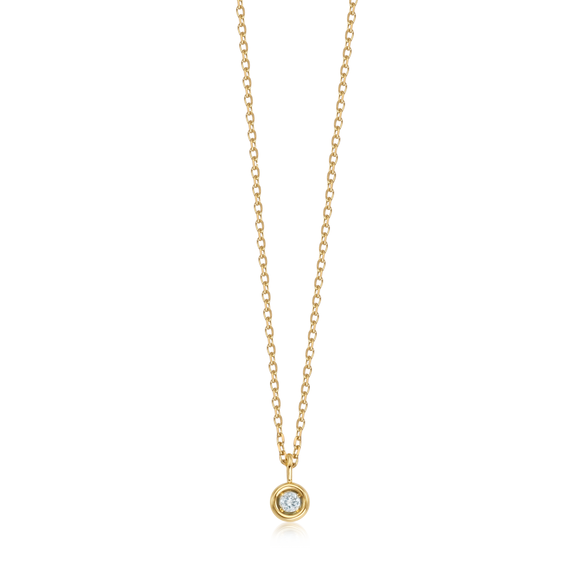 14K/18K Gold March Aquamarine Birthstone Necklace