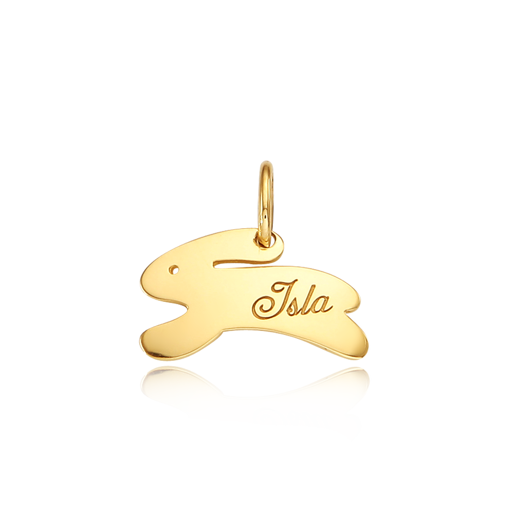 14k/18k Gold Rabbit Running Pendant