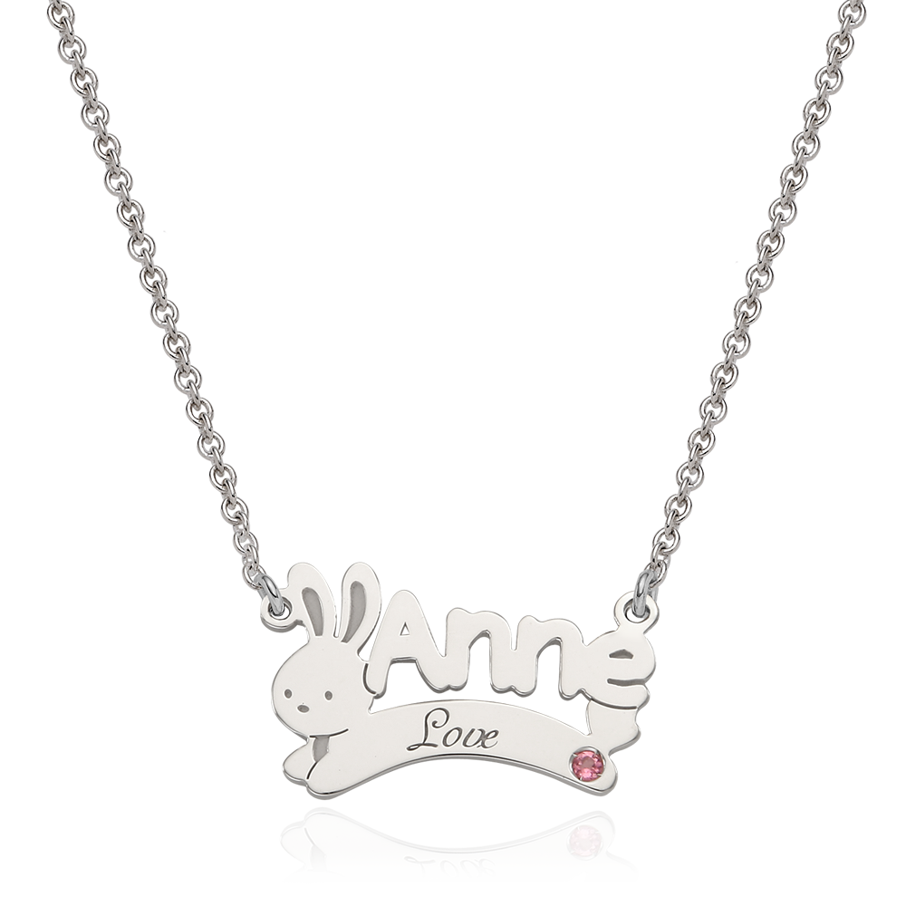 Oriental Zodiac Rabbit Sterling Silver Name Necklace