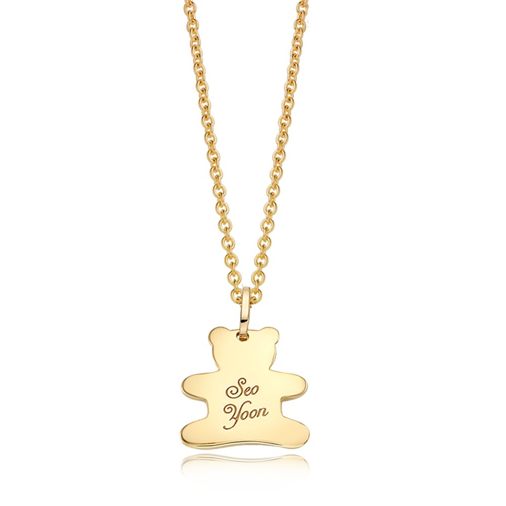 14K / 18K Gold Cabin Bear Necklace