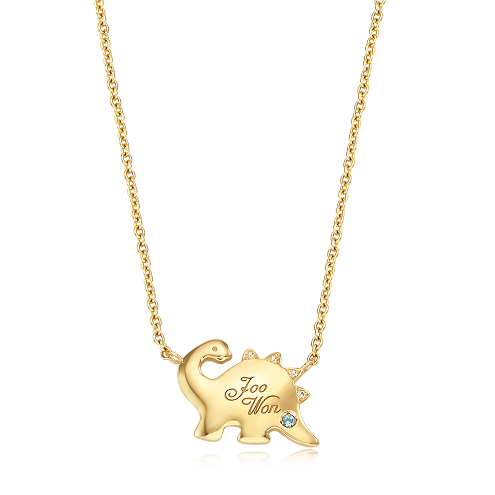 14K / 18K Gold Dinosaur Baby Necklace
