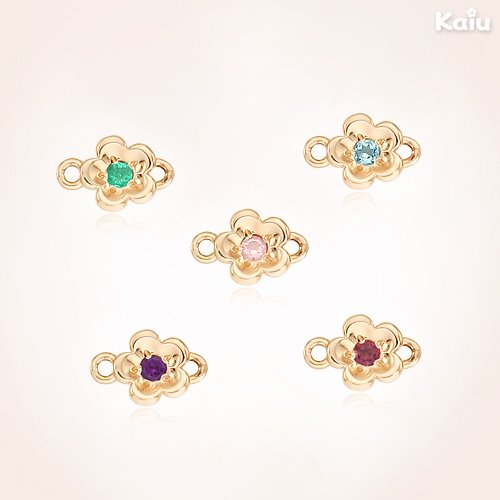 Add 14K / 18K Gold Small Point Birthstone Flower