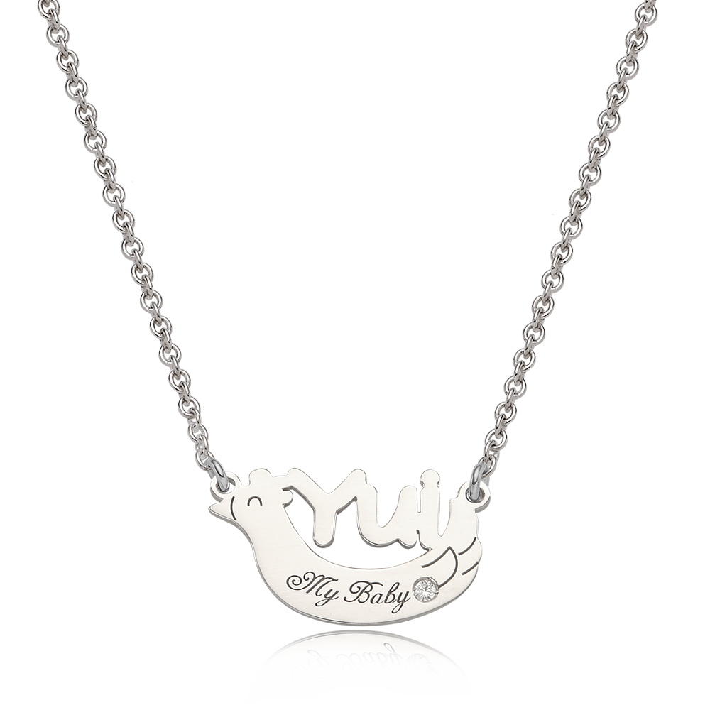 Oriental Zodiac Rooster Sterling Silver Name Necklace