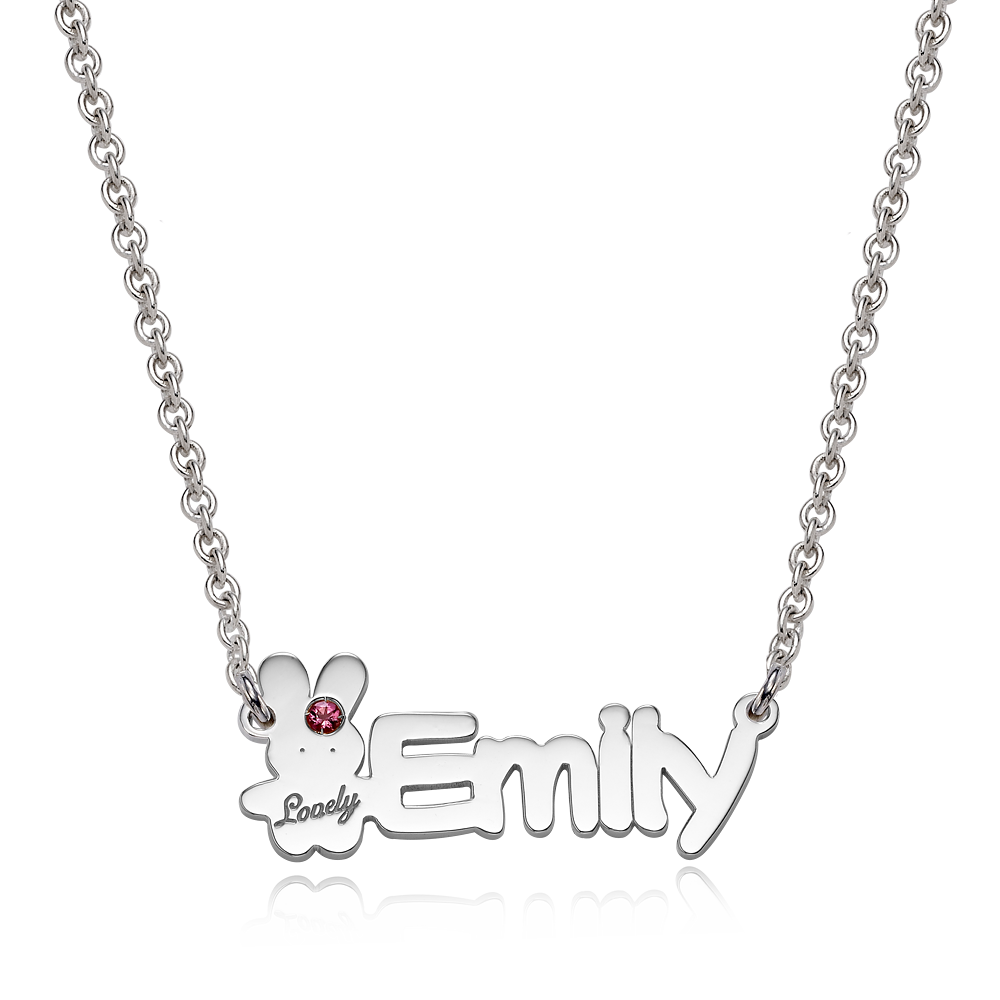 Silver baby rabbit Birthstone English Name Necklace