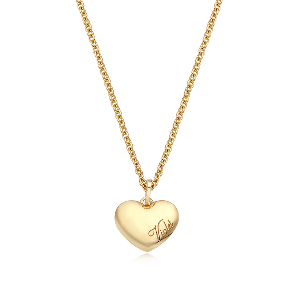 14K/18K Gold Kaiu Simple Heart Couple Necklace