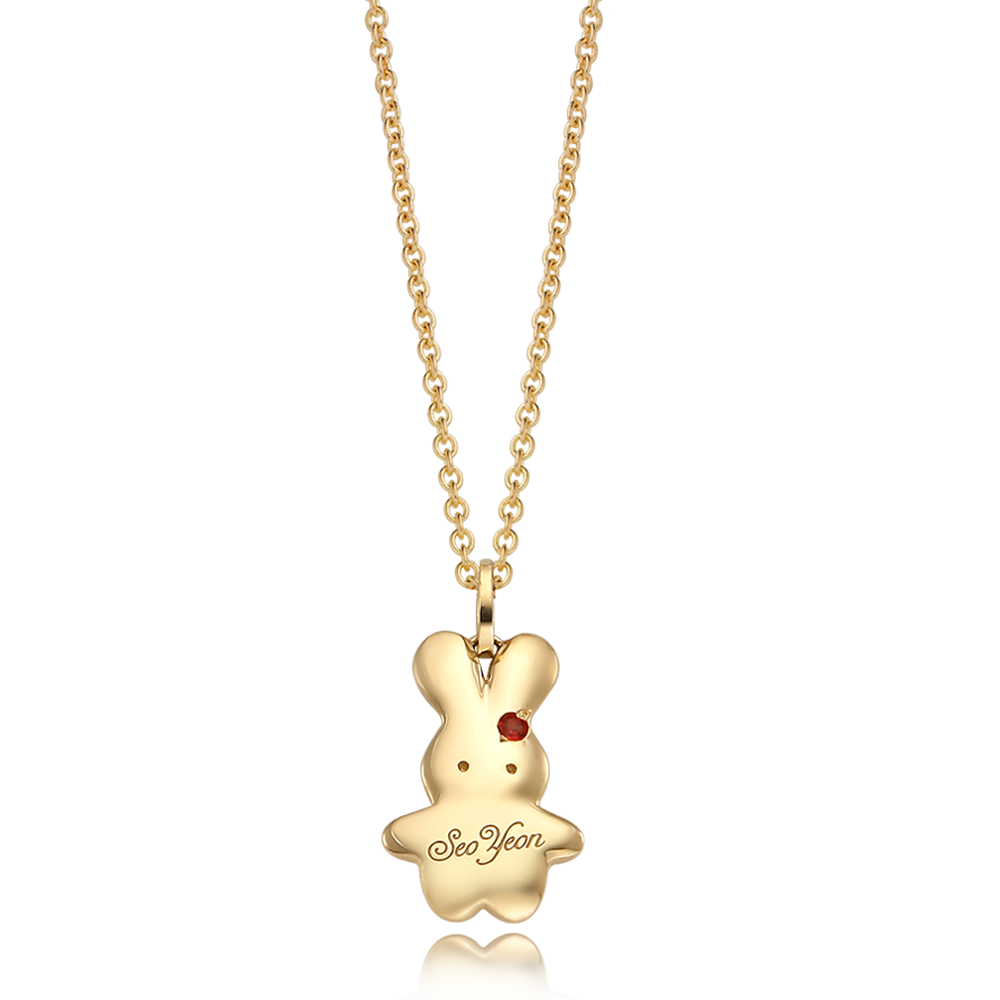 14K / 18K Gold Baby Rabbit Birthstone Necklace