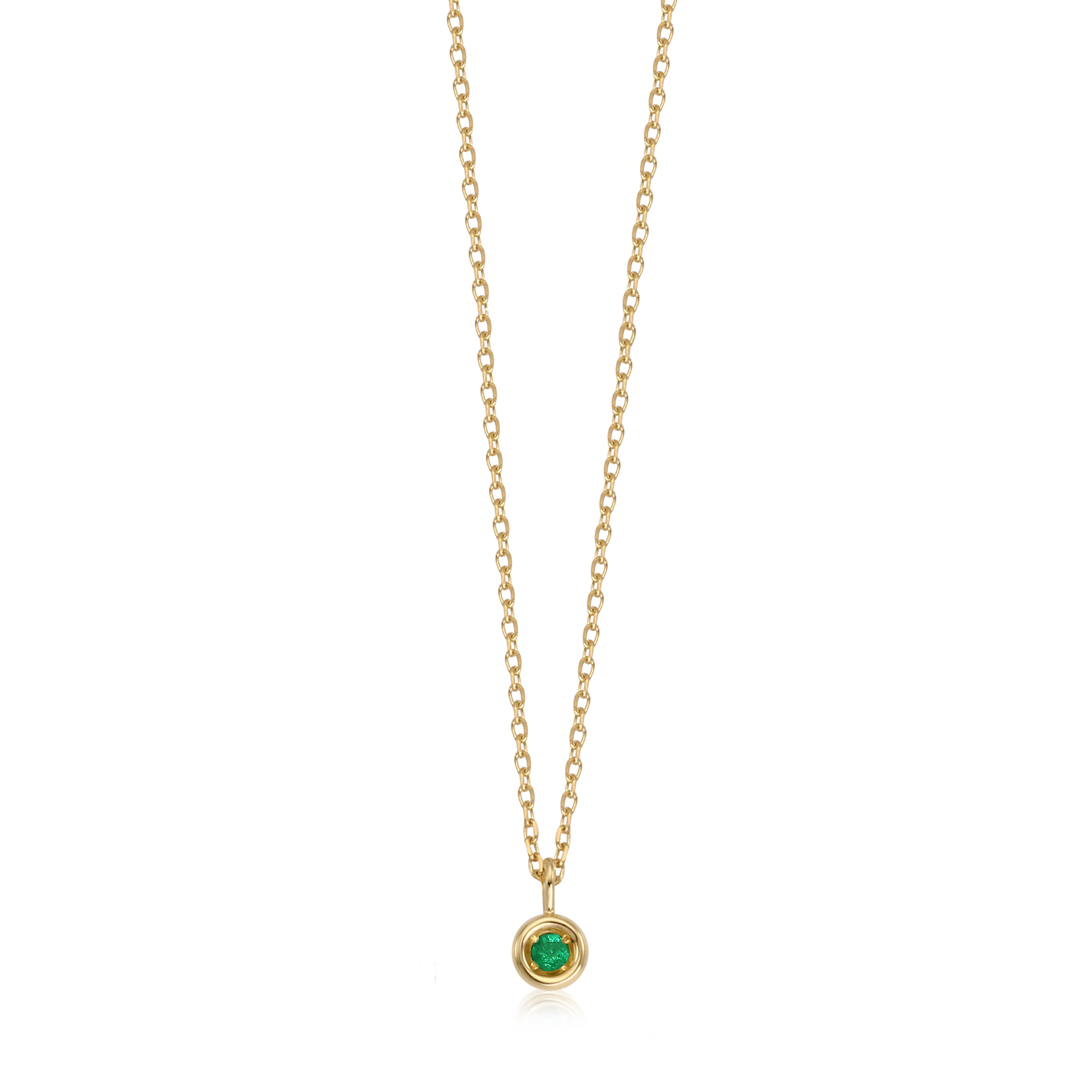14k Gold May Emerald Birthstone Necklace