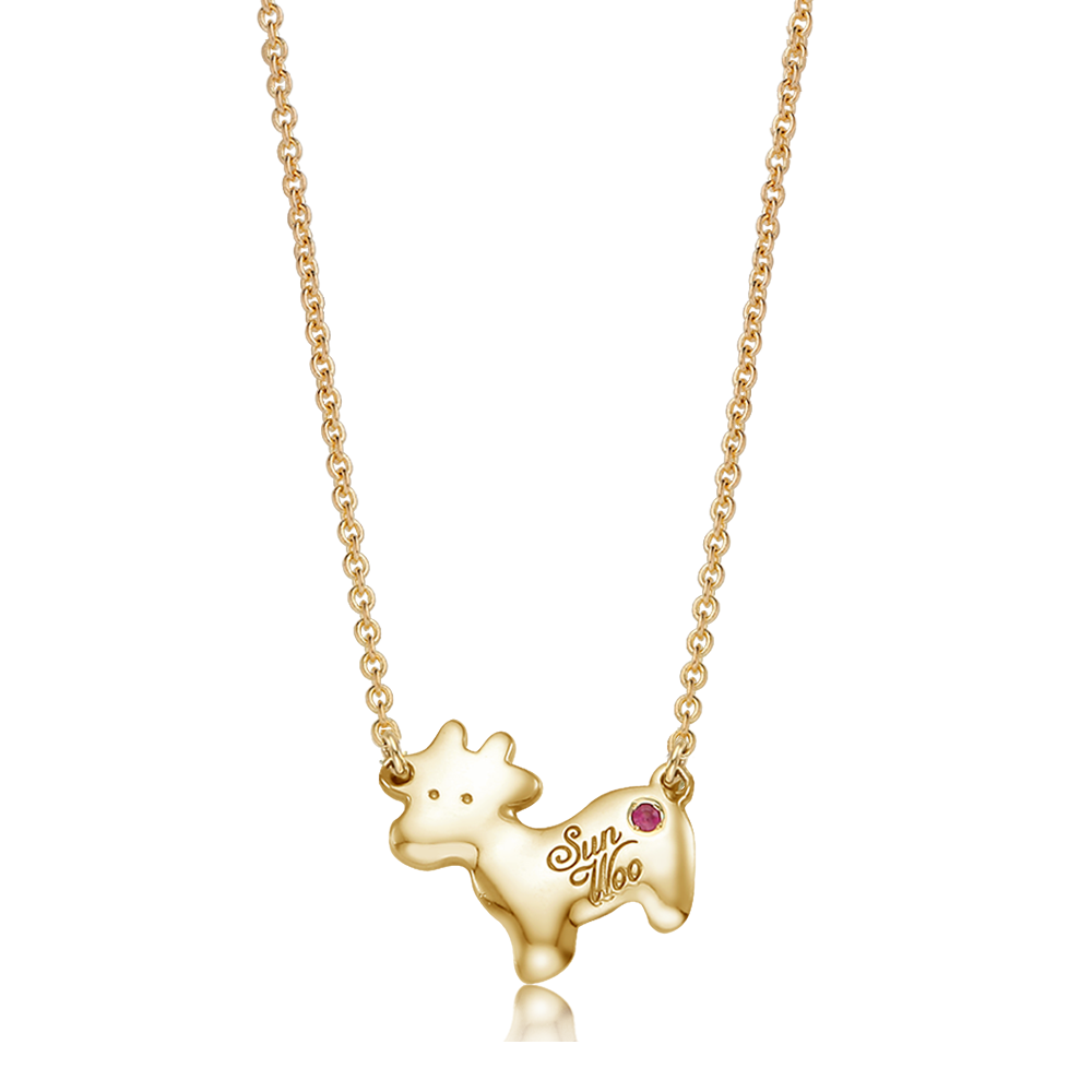 14K / 18K Gold Bono Cow Calf Necklace