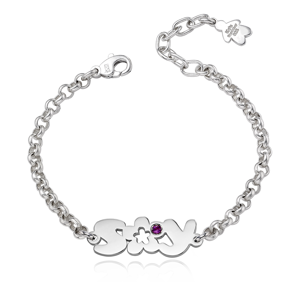 Sterling Silver Flower Birthstone English Initial Bracelet