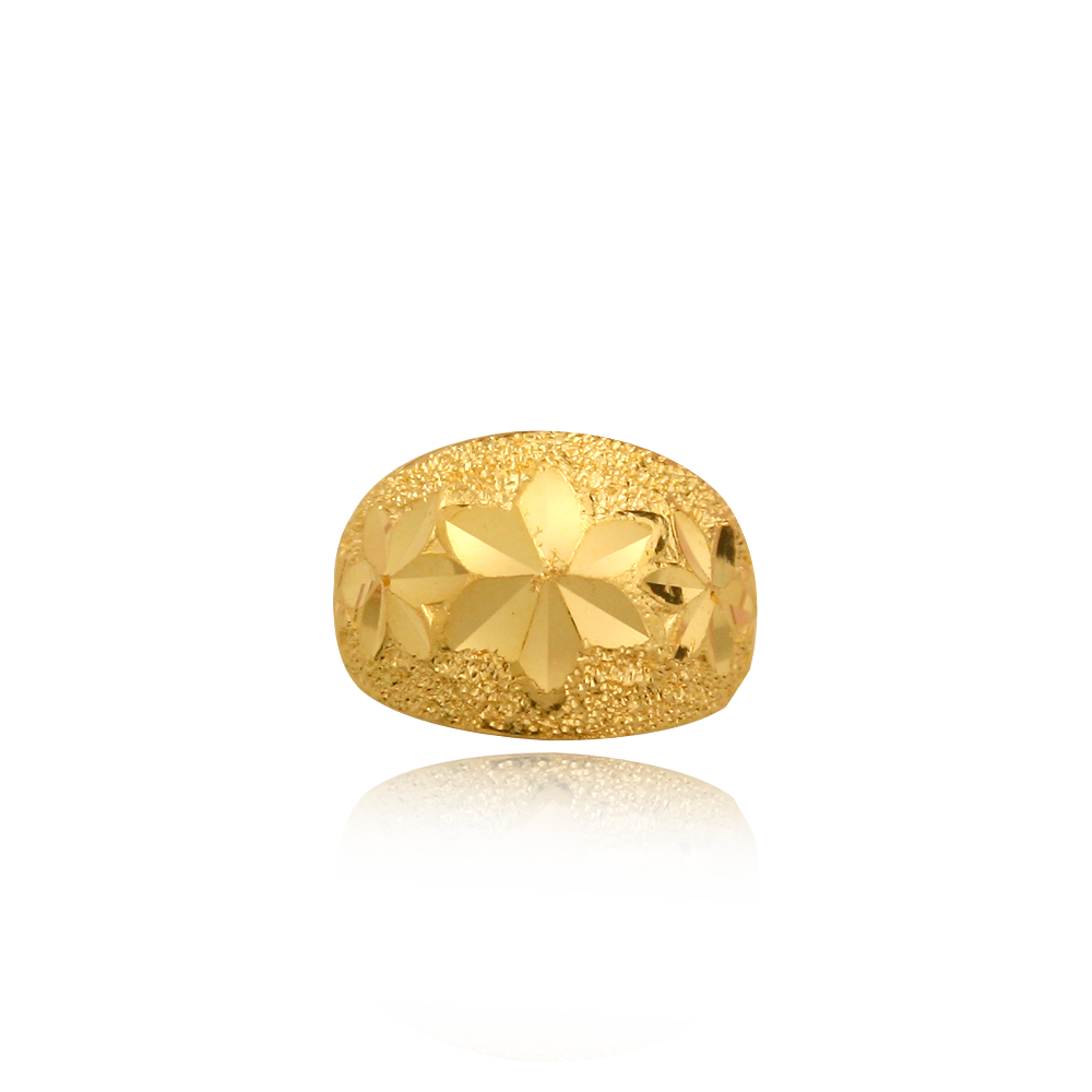 Pure gold 3.75g flower carving The first birthday baby ring