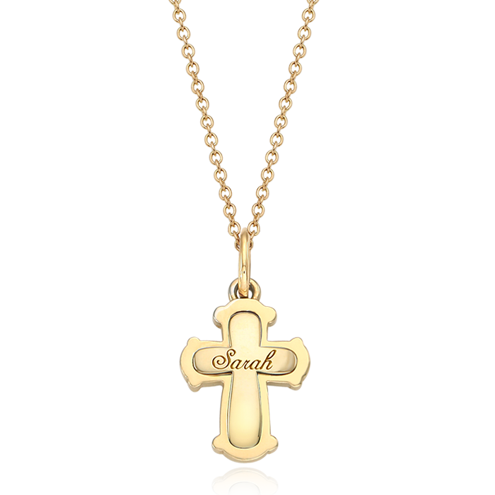 14K / 18K Gold Classic Cross Necklace [ Baptismal Gifts / Personalized Engraving ]