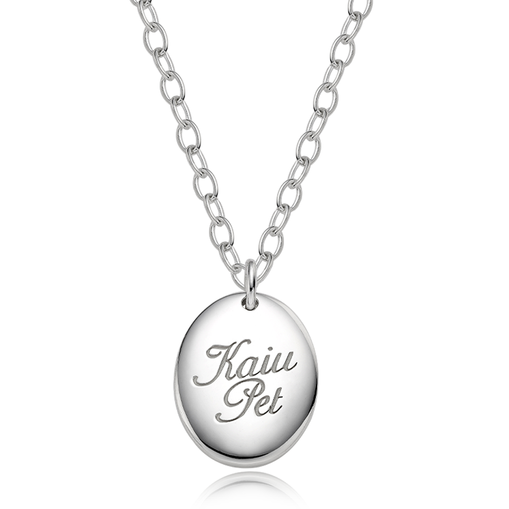 Pet ID Tags-Sterling Silver Modern Oval Cursive Necklace 4.0 Cable Chain [ Personalized Engraving ]