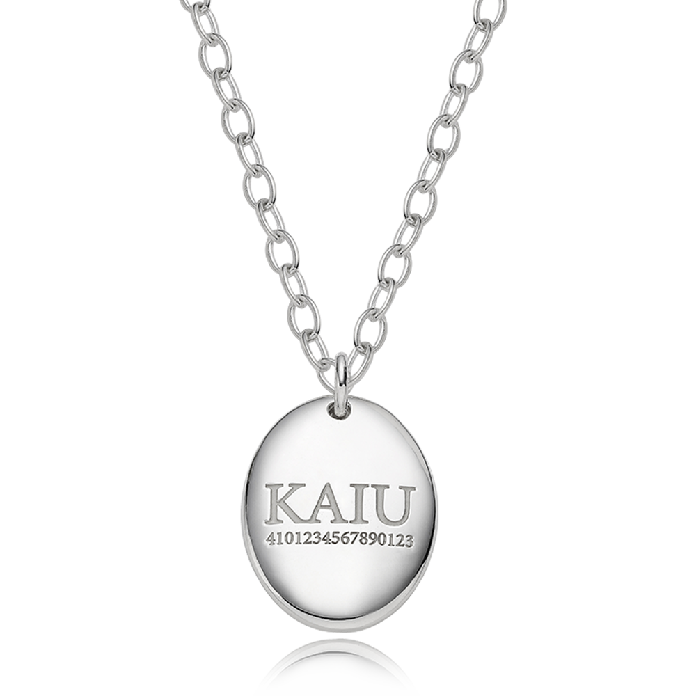 Pet ID Tags-Sterling Silver Modern Oval(L) B Type Necklace 4.0Cable Chain [Personalized Engraving]