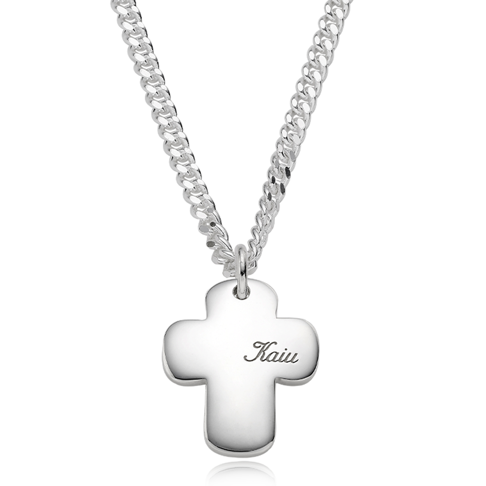 Pet ID Tags-Sterling Silver Cross Bold (L) Cursive Necklace 4.0Curb Chain [Personalized Engraving]