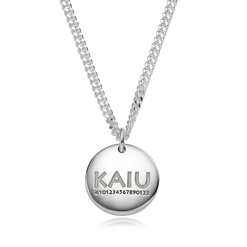 Pet ID Tags for Dog & Cat-Sterling Silver Modern Round(L) A Type Necklace 3.4 Curb Chain [ Personalized Engraving ]