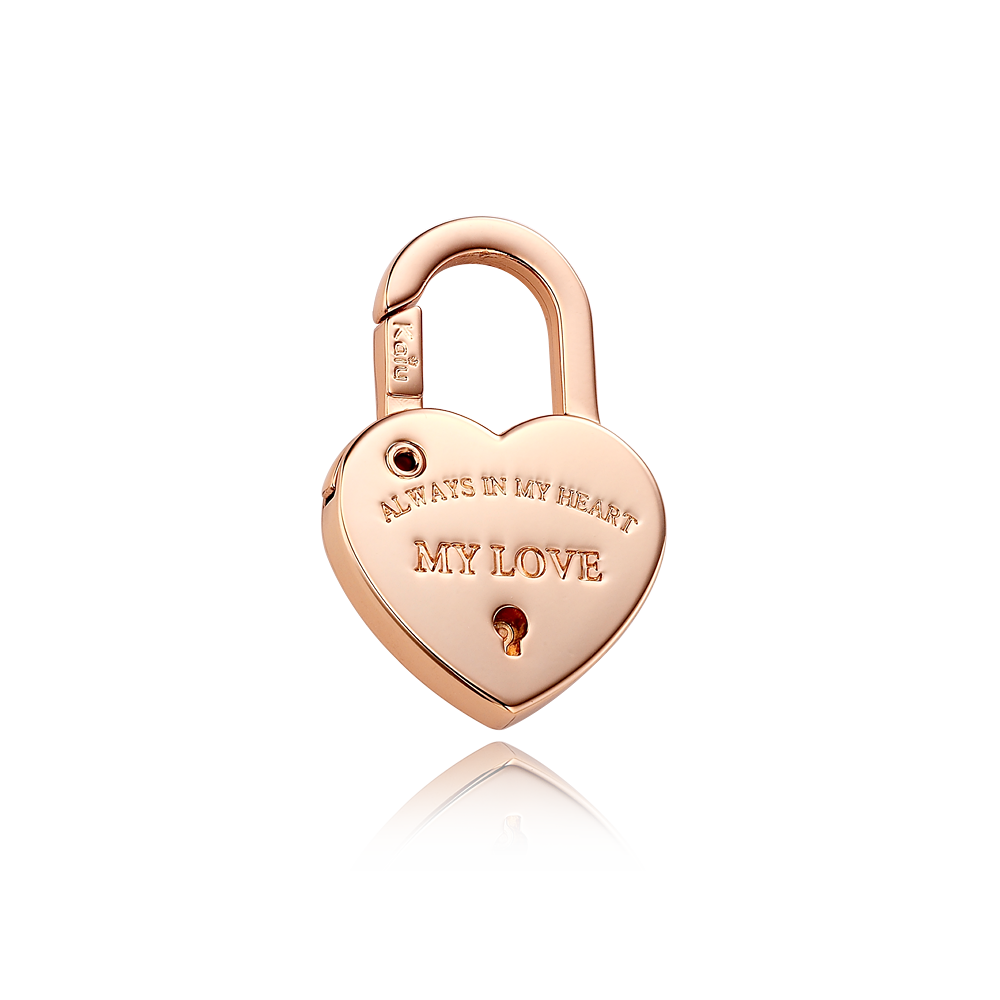 Dog Name Tag-Heart Lock Shape Pendant [ Pink Gold Color ]
