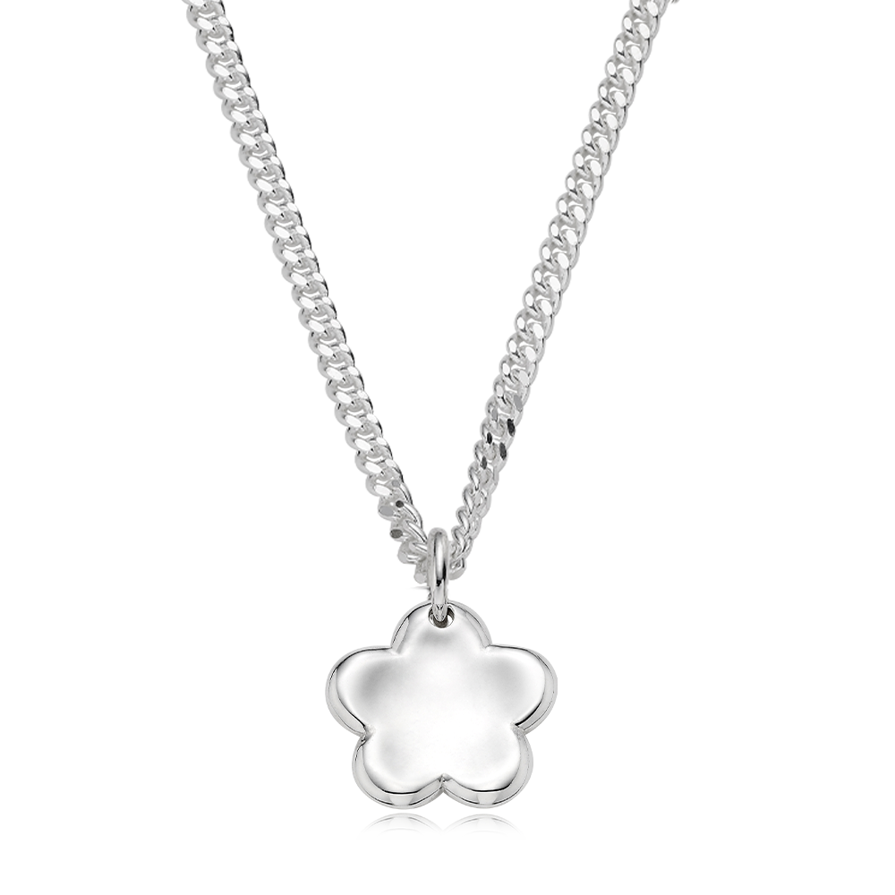Pet Jewelry -Sterling Silver Kaiu Baby Flower 3.4 Curb Necklace[ Personalized Engraving ]