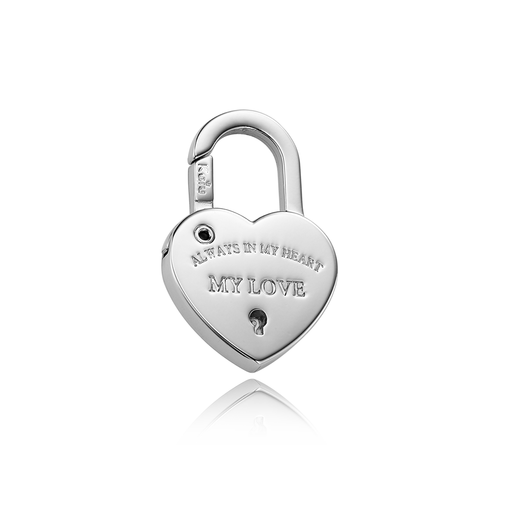 Dog Name Tag-Heart Lock Shape Pendant [White Gold Color ]