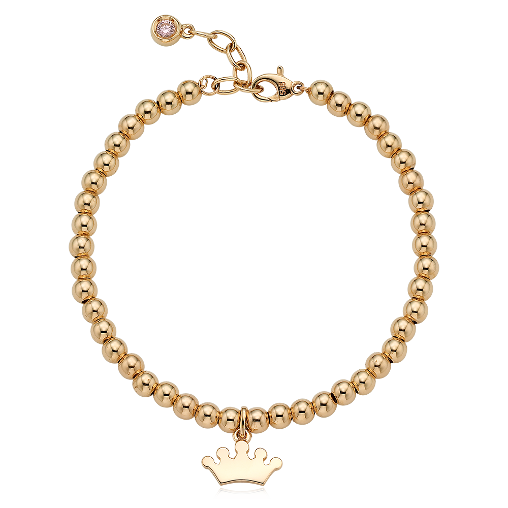 14K /18K Gold Tiara Pendant 4.0mm Ball Birthstone Bracelet[16+2.5cm]