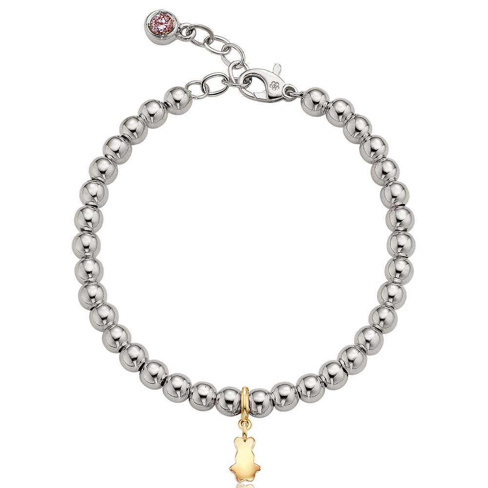 5K Gold Mini Rabbit Charm Sterling Silver Bead Birthstone Bracelet
