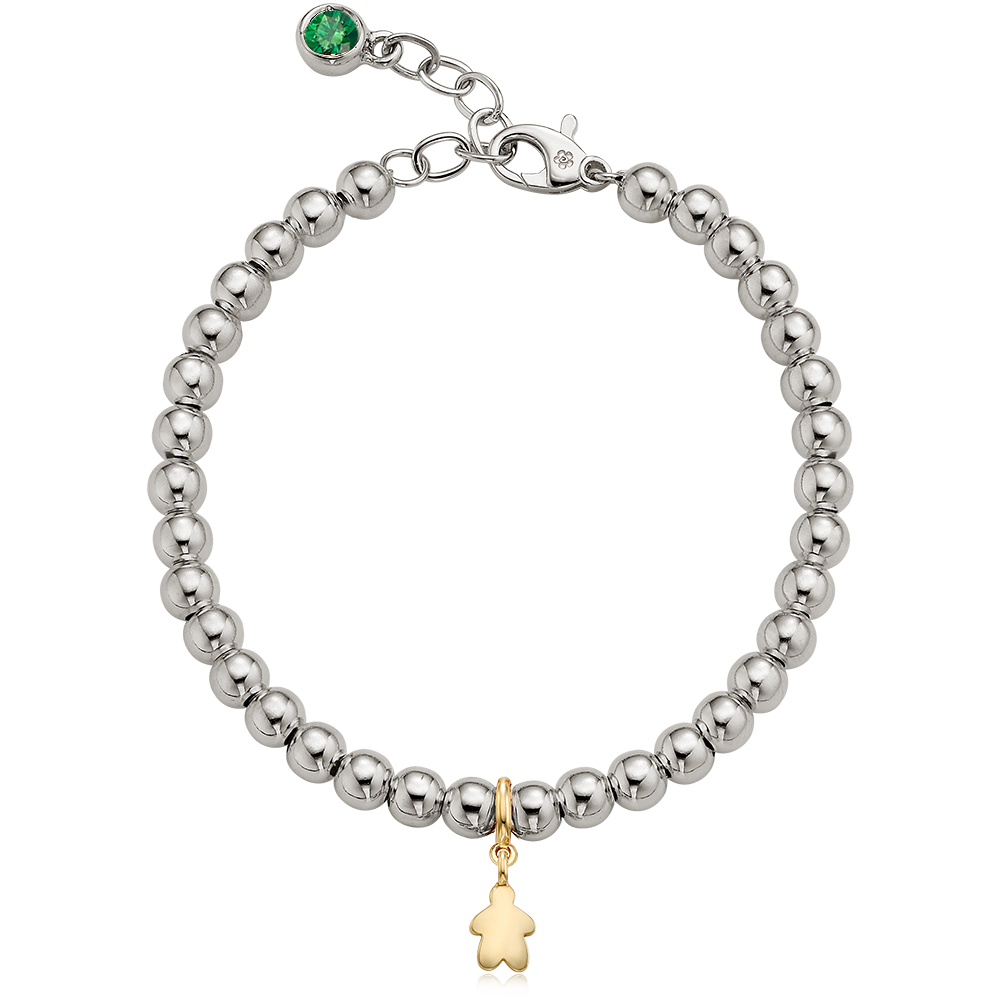 5K Gold Mini Kid Charm Sterling Silver Bead Birthstone Bracelet