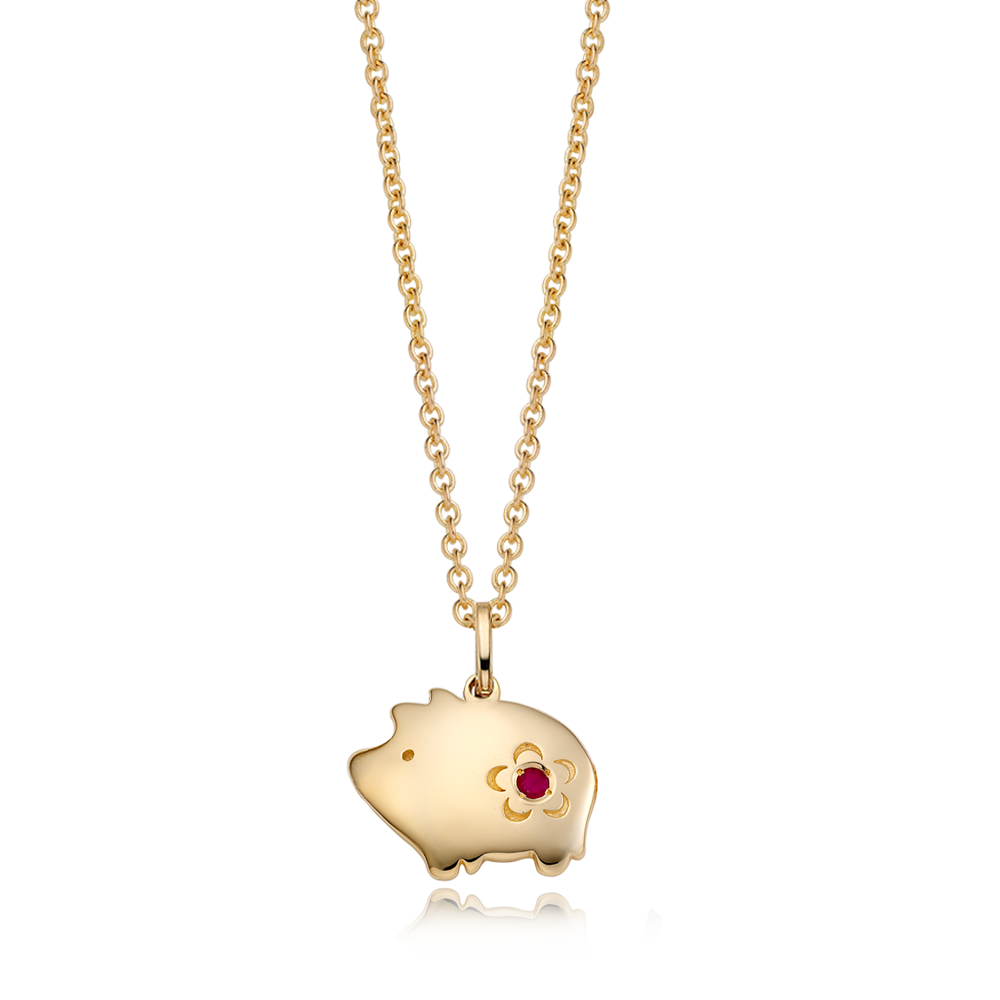 14K / 18K Gold Cookie Pig Necklace