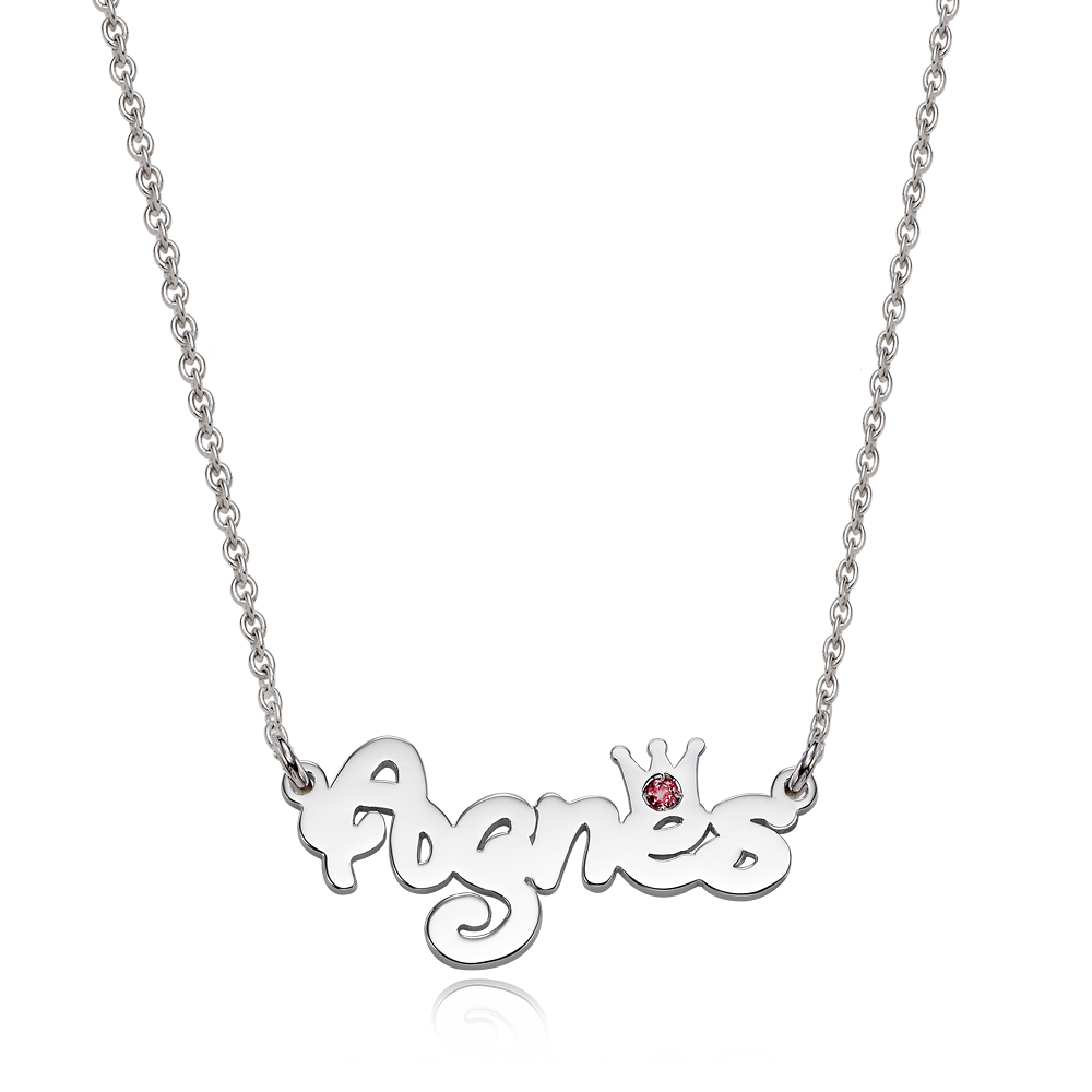 Silver Flora Crown Birthstone  Name Necklace