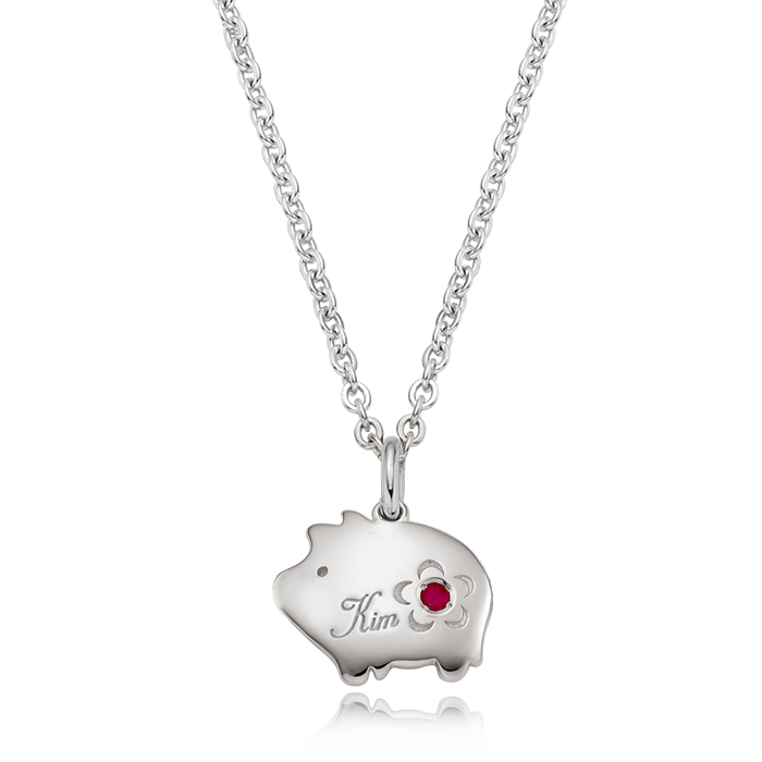 Silver Cookie Pig Flower Birthstone Necklace
