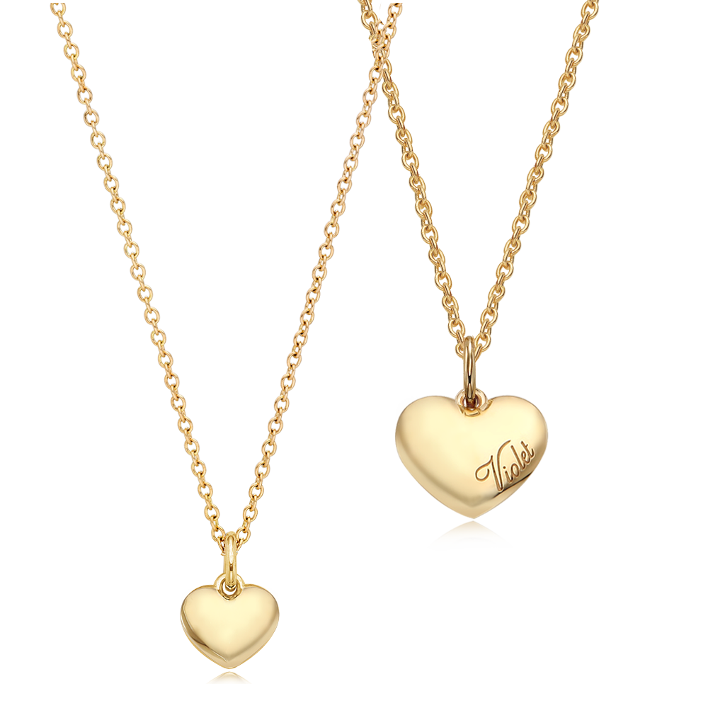 [With My Child] 14K/18K Gold Caiyou Simple Heart Couple Necklace