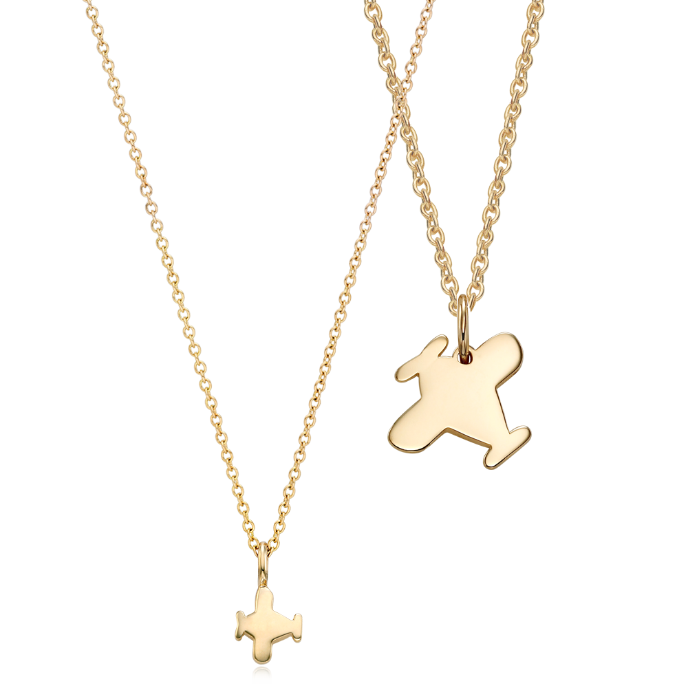 14K / 18K Gold B339 Airplane Necklace Baby + Adult SET