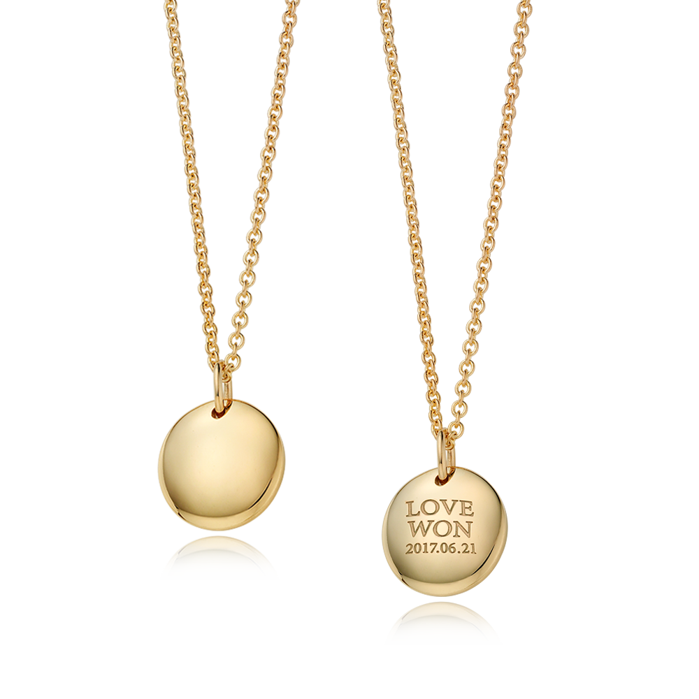 14K / 18K Gold Modern Shaped Round Necklace Infant + Adult SET