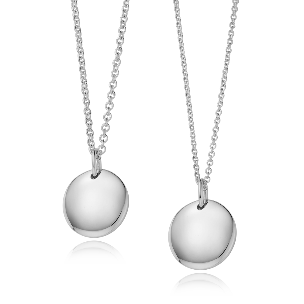 Kaiu Modern Shape Round Silver Couple Necklace