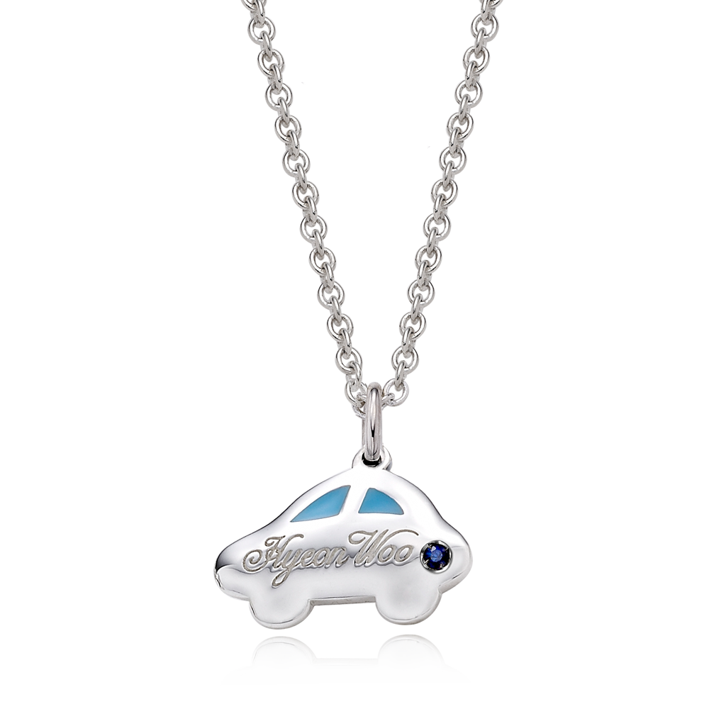 2021 NEW Silver Car Blue/Pink Baby Necklace