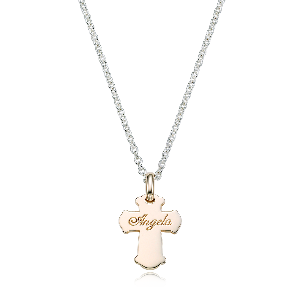 [For Adults] 5K Gold Cross & Silver Chain Engraved Necklace-Baptism Gift