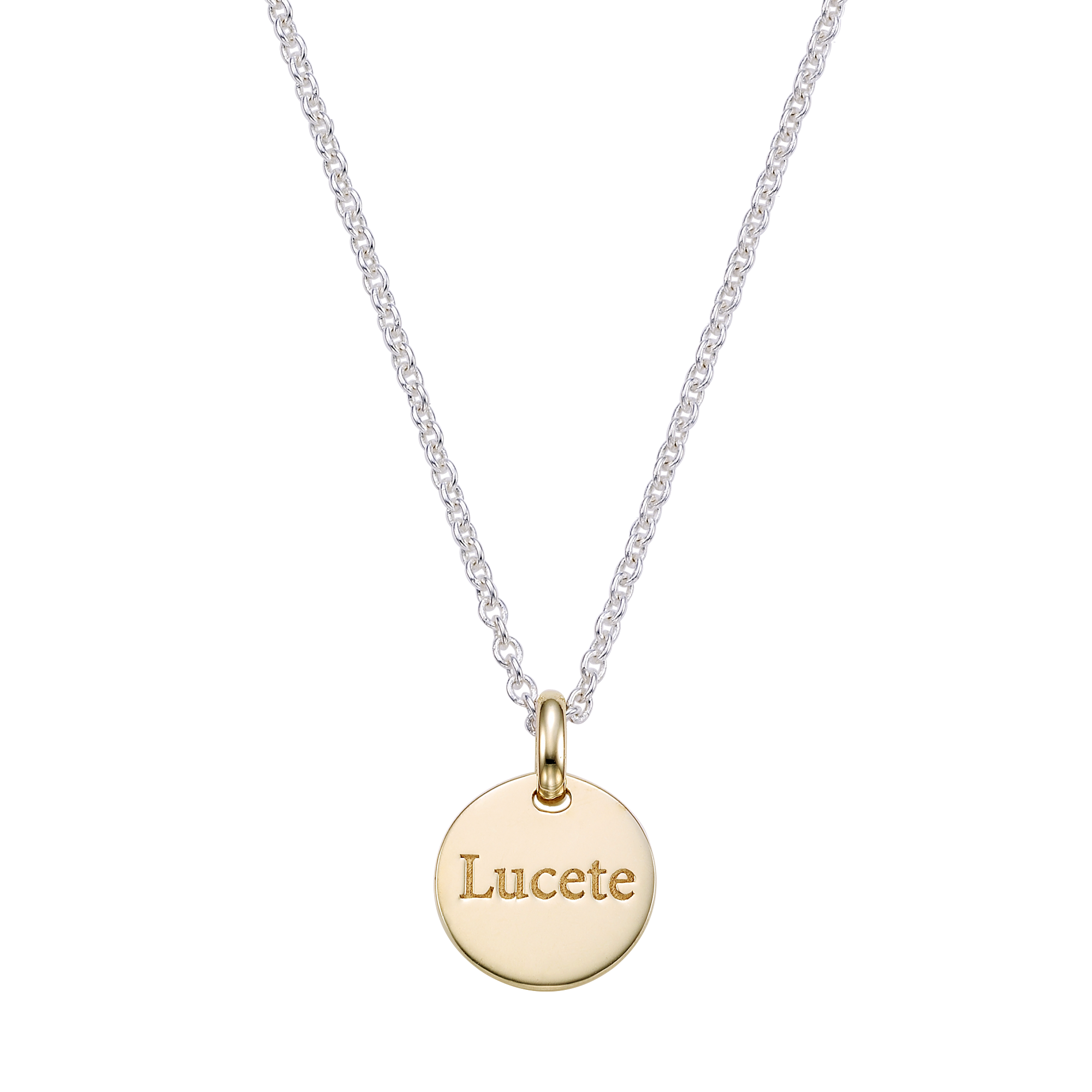 [For Adults] Round 5K Gold Pendant and Silver Chain Engraved Necklace-Baptism Gift