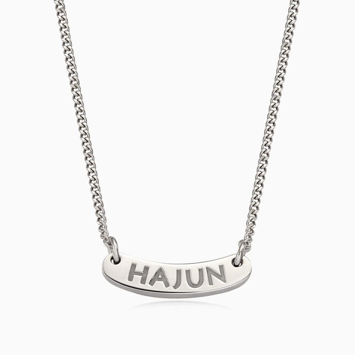 Kaiu Silver Stick Name Bar Anti-lost Necklace- A-Type