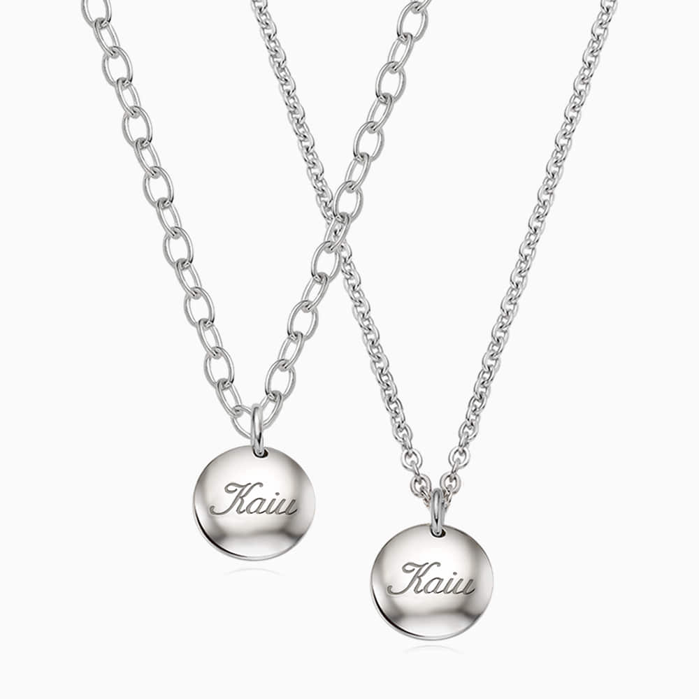 [With my Pet] Silver Round Necklace(Small)
