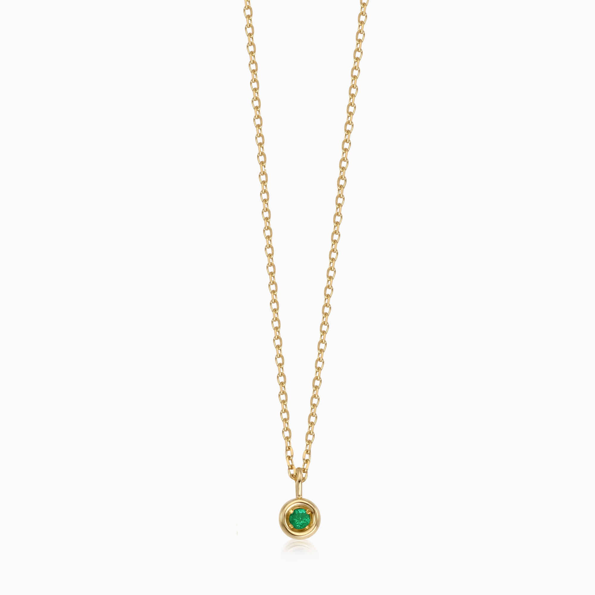 14K/18K Gold May Emerald Birthstone Necklace