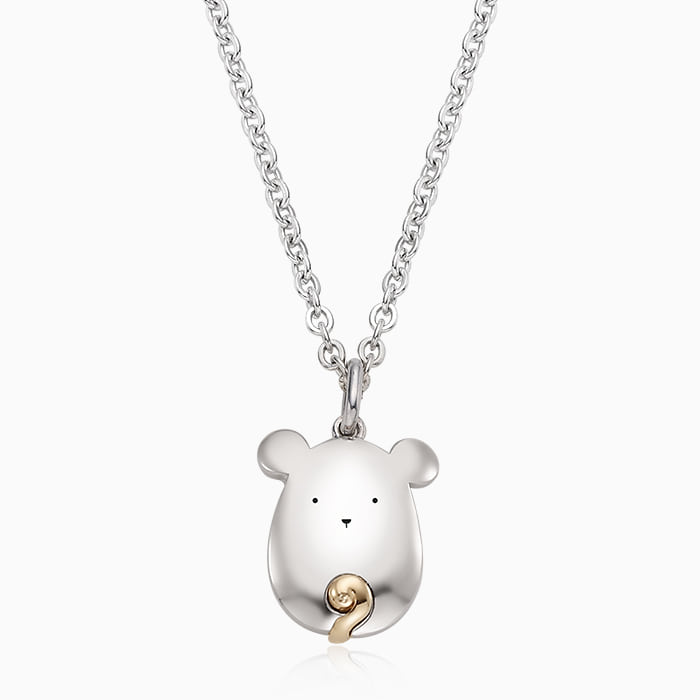 5K GOLD Oriental Zodiac Mouse Baby Silver Necklace