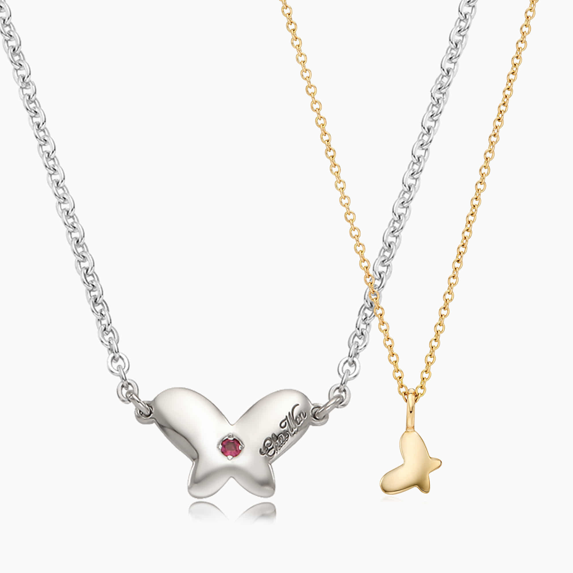 [With My Child] Silver/14K/18K Butterfly Necklace