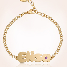 Gold Baby Name Bracelets 14k Yellow B01 Bracelet International Shipping Available